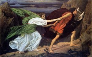Orfeu guia sua amada Eurídice para fora do mundo inferior