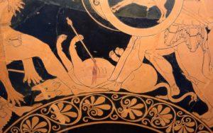 Ortro morto aos pés de Gerião e Hércules