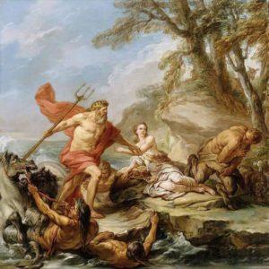 Poseidon salva Amimone das garras do sátiro