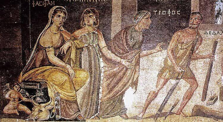 Eros, Pasífae, criados e Dédalo entregando a vaca de madeira