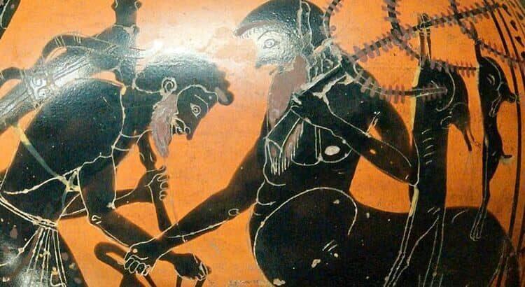 Hércules e Folo abrem o odre de vinho dos centauros