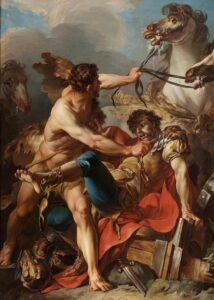 Diomedes rei da Trácia carregado por Hércules