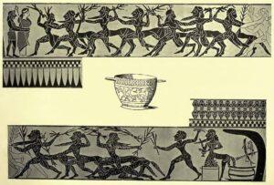 Hércules combate os centauros após abrir o odre de vinho